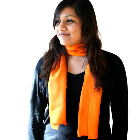 Organic Silk: Tangerine Shimmer Scarves by Sustainable Threads