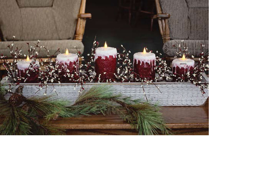 "White Trough with 1, 6"" - 2, 5"" and 2, 4"" Frosted Red Candles and Garlan"