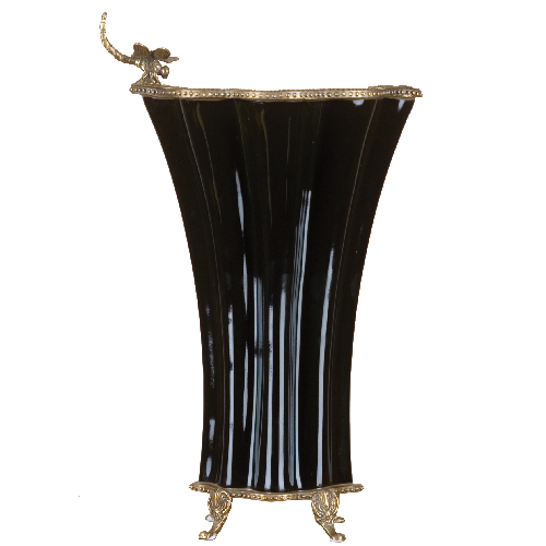 Elegant Vase with Bronze Ormolu - Ebony by Oriental Danny