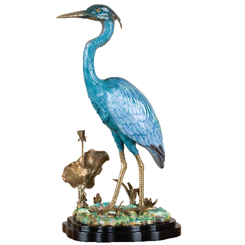Porcelain Blue Heron with Bronze Ormolu by Oriental Danny