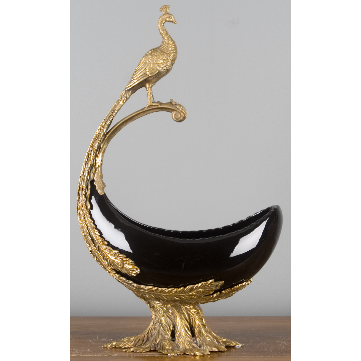 Porcelain Basin with Bronze Peacock Ormolu - Ebony by Oriental Danny