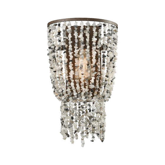 Agate Stones 1 Light Wall Sconce In Weathered Bronze With Gray Agate Stones 65301/1 by Elk Lighting