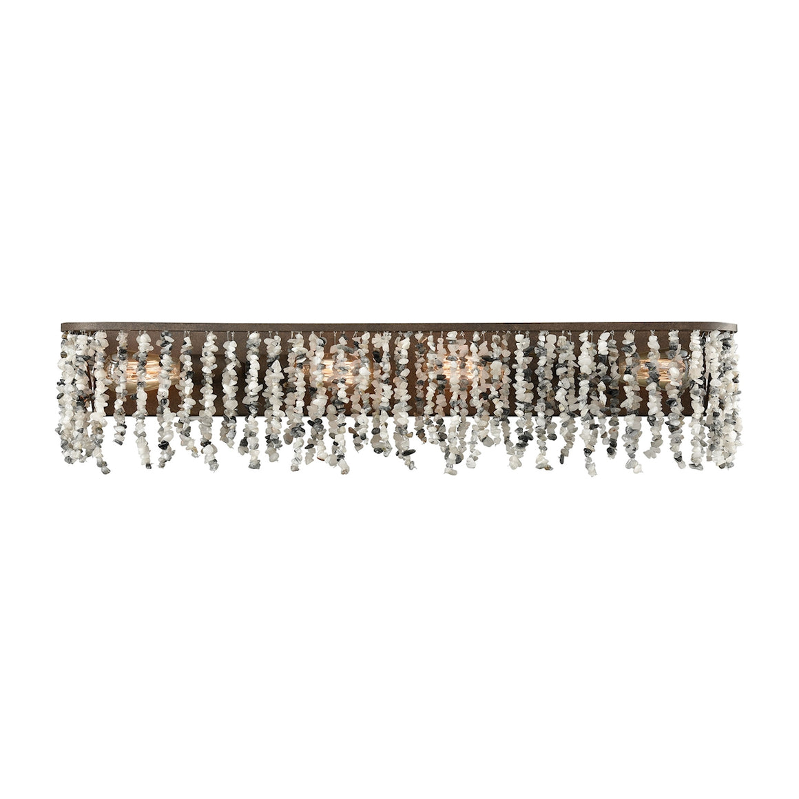Agate Stones 4 Light Vanity In Weathered Bronze With Gray Agate Stones 65303/4 by Elk Lighting