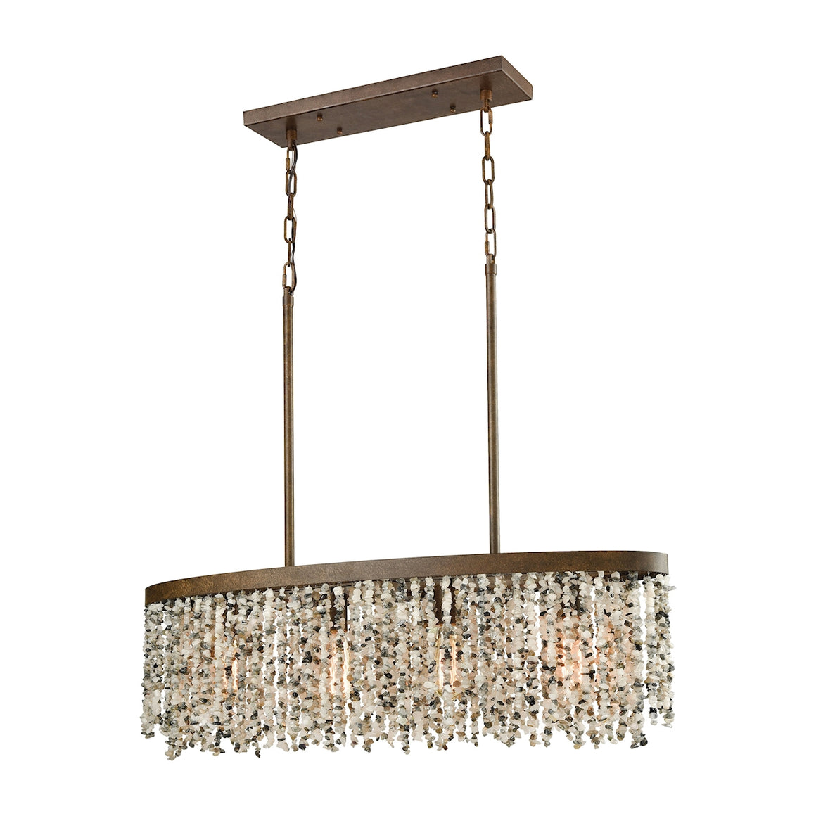 Agate Stones 4 Light Chandelier In Weathered Bronze With Gray Agate Stones 65306/4 by Elk Lighting
