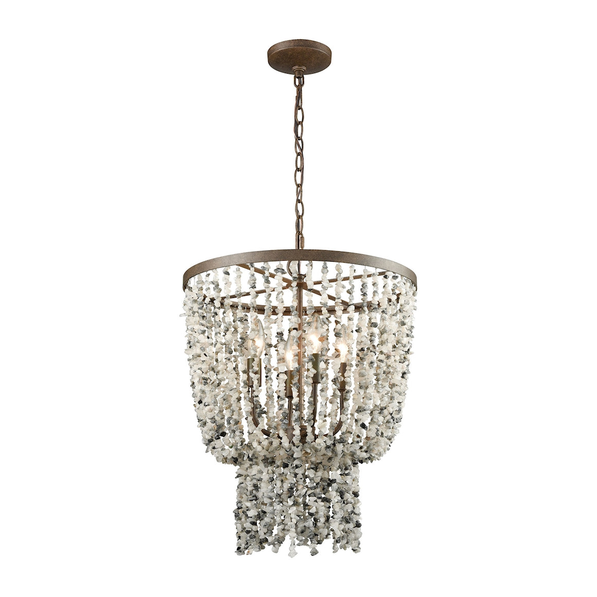 Agate Stones 4 Light Chandelier In Weathered Bronze With Gray Agate Stones 65307/4 by Elk Lighting
