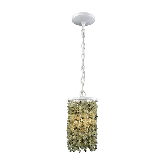 Agate Stones 1 Light Pendant In Weathered Bronze With Light Jade Agate Stones 65325/1 by Elk Lighting