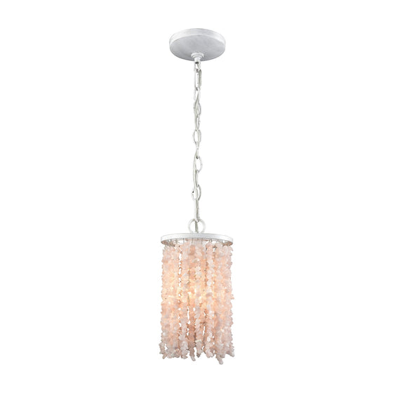 Agate Stones 1 Light Pendant In Off White With White And Pink Agate Stones 65330/1 by Elk Lighting