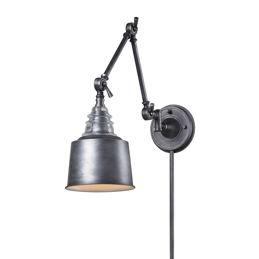 Insulator Glass 1 Light Swingarm Sconce In Weathered Zinc 66825-1 by Elk Lighting