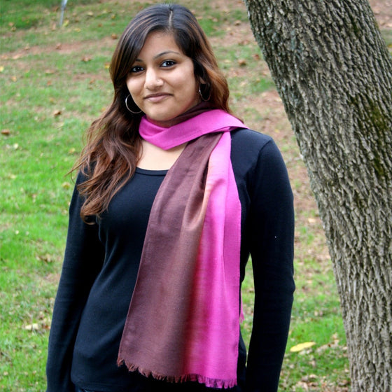Peace Silk: Cotton Candy & Chocolate Ombre Scarves by Sustainable Threads