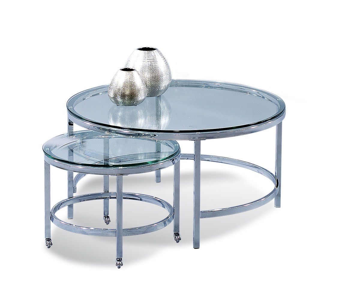 Patinoire Chrome And Glass Round Nesting Sectional Coffee Cocktail - Round nesting cocktail table