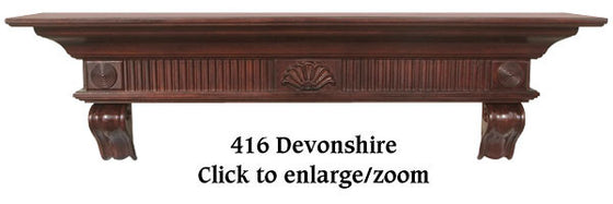 The Devonshire Shelf / Fireplace Mantel with Cherry Distressed Finish 416-72-70