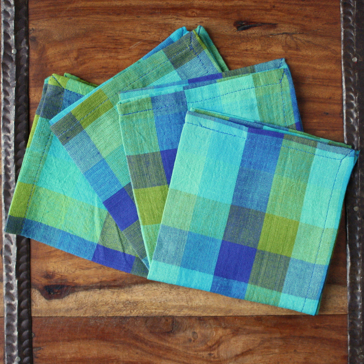Checkered Blue Napkins by Sustainable Threads