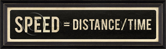80801 BC Speed=Distance/Time Street Sign Framed Art