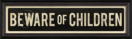80811 BC Beware Of Children Street Sign Framed Art