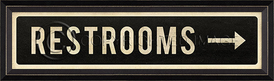 80832 BC Restrooms Right Arrow Street Sign Framed Art