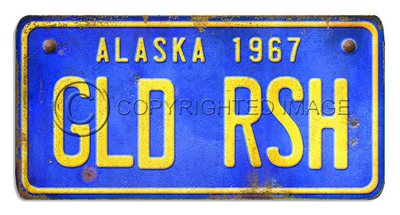 81095 Alaska License Plate GLD RSH Framed Art