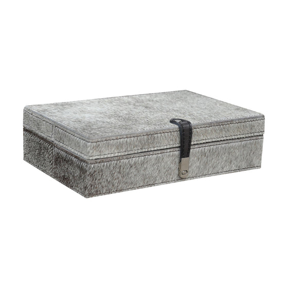Large Grey Hairon Leather Box 8819-023 by Dimond Home