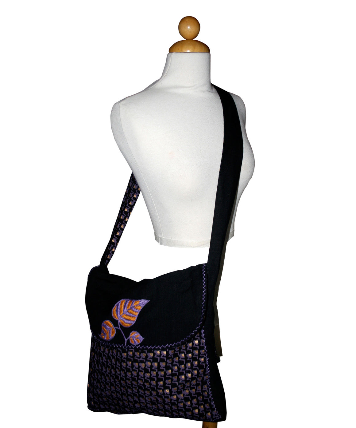 Mango Leaf-Purple Shoulder Bag by Sustainable Threads