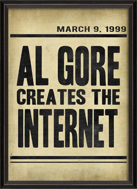88859 BC Al Gore Creates the Internet Headline Framed Art