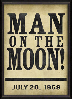 88863 BC Man on the Moon Headline Framed Art