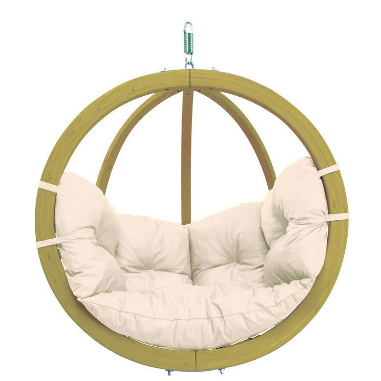 Globo Hanging Wood Chair With Globo Stand and White Cushion
