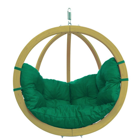 Globo Hanging Wood Chair With Globo Stand and Green Cushion