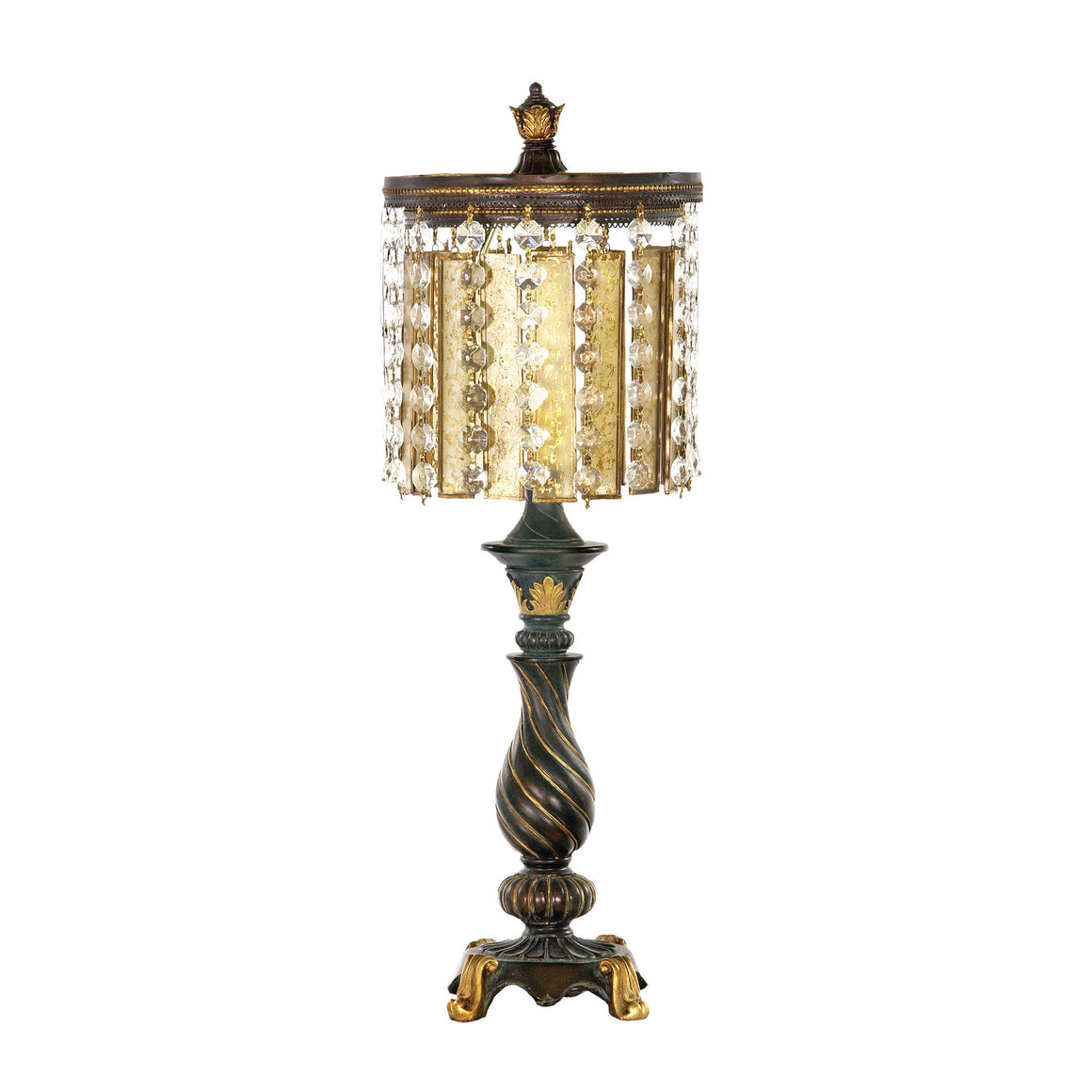 Amber & Crystal Table Lamp in Gold Leaf and Black 93-090