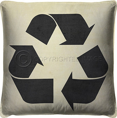 10121 Recycle Black On White Pillow
