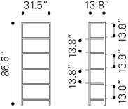 Mission Bay Tall 6 Level Shelf Distressed Natural 1