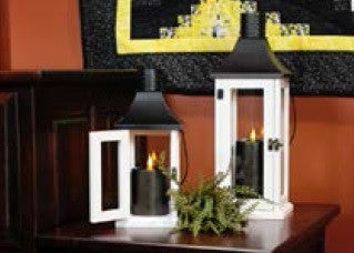Black Schoolhouse Lantern with Black Metal Pillar Candle