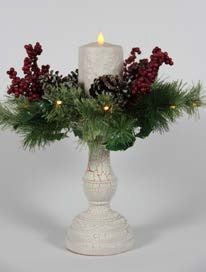 "Crackled Lighted Christmas Stand with 5"" Cream Pillar"