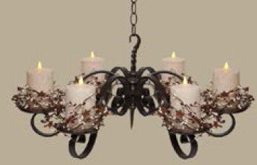 "6 Pillar Chandelier with 6, 5"" Cream Pillars and Berry Rings"