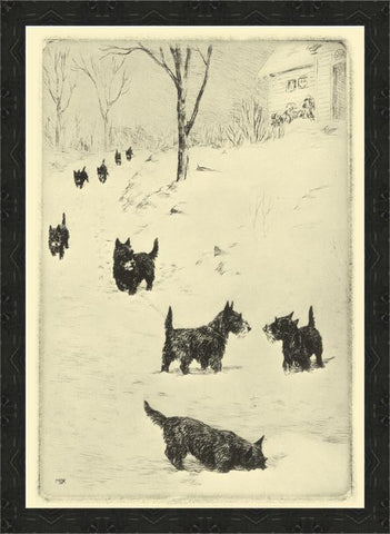 LC13435 Scotties in Snow Framed Art