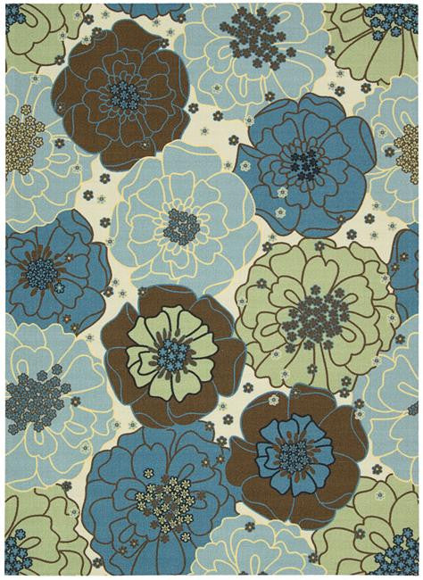 Home & Garden RS021 Light Blue Outdoor Patio Rug By Nourison