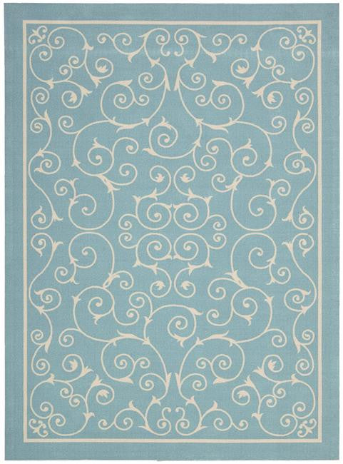 Home & Garden RS019 Light Blue Outdoor Patio Rug By Nourison
