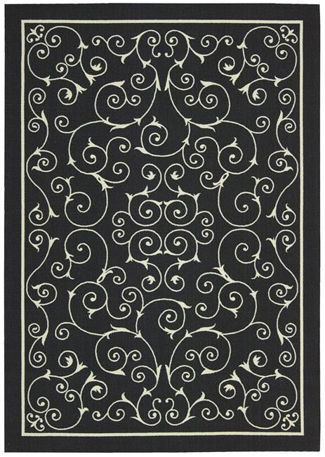 Home & Garden RS019 Black Outdoor Patio Rug By Nourison
