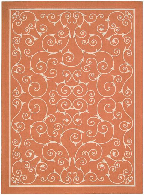 Home & Garden RS019 Orange Outdoor Patio Rug By Nourison