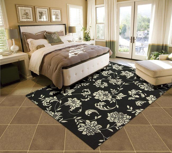 Home & Garden RS014 Black Outdoor Patio Rug By Nourison