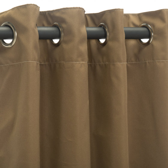 Sunbrella Outdoor Curtain With Nickel Grommets - Canvas Cocoa