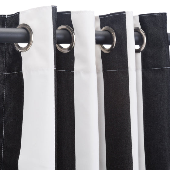 Sunbrella Outdoor Curtain With Nickel Grommets - Cabana Black