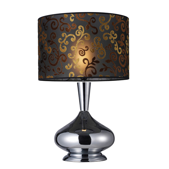 Avonmore Table Lamp In Chrome With Black Organza Shade With Flocked Patterned  D1472