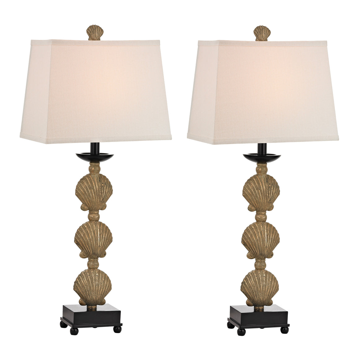 2 Pack Shell Table Lamp In Distressed Gold Finish D2449/S2