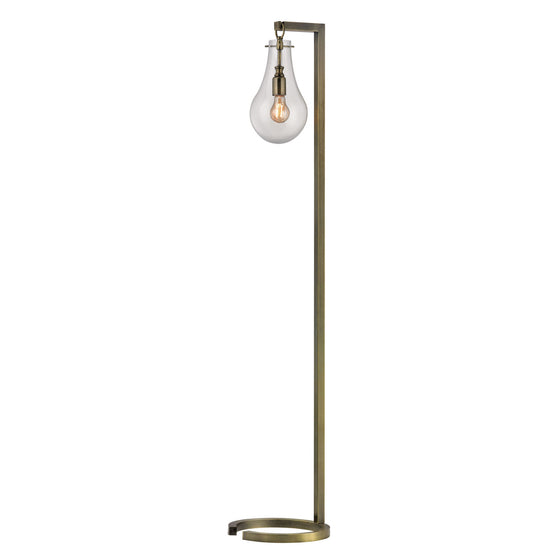 Antique Brass Floor Lamp With Clear Glass Shade D329