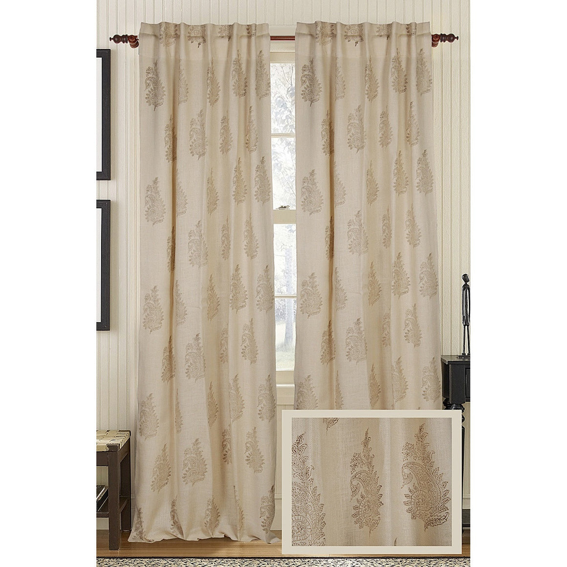 Feather Burlap Drapes - Wheatish