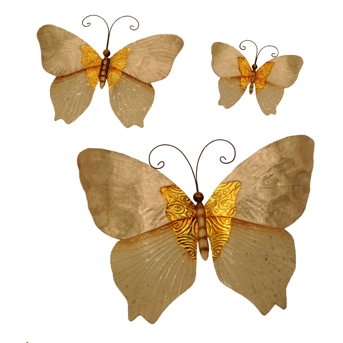 Butterflies White and Gold Set Of Three