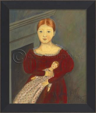 11074 MI Red Haired Girl with Doll Framed Art