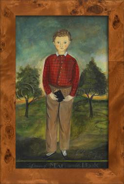 11005 SH Boy Holding Book Framed Art