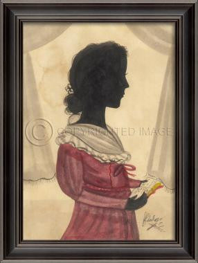 14029 LH Girl in Red Silhouette Framed Art