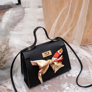 Mara's Dream 2019 New Solid Color Lychee Pattern Scarf Pouch Shoulder Diagonal Bag Handbag