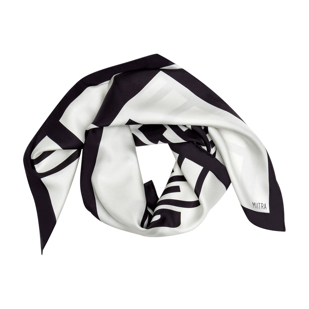 Liberation Silk Scarf - ivory and black scarf styled on white background